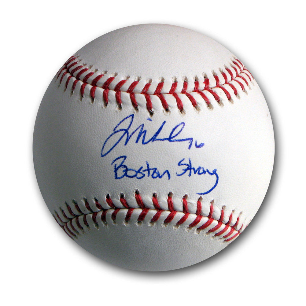 "Autographed Will Middlebrooks Official Major League Baseball inscribed ""Boston Strong""."