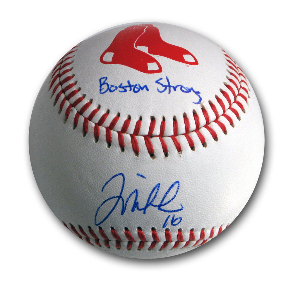 "Autographed Will Middlebrooks Boston Red Sox Logo Baseball inscribed ""Boston Strong""."