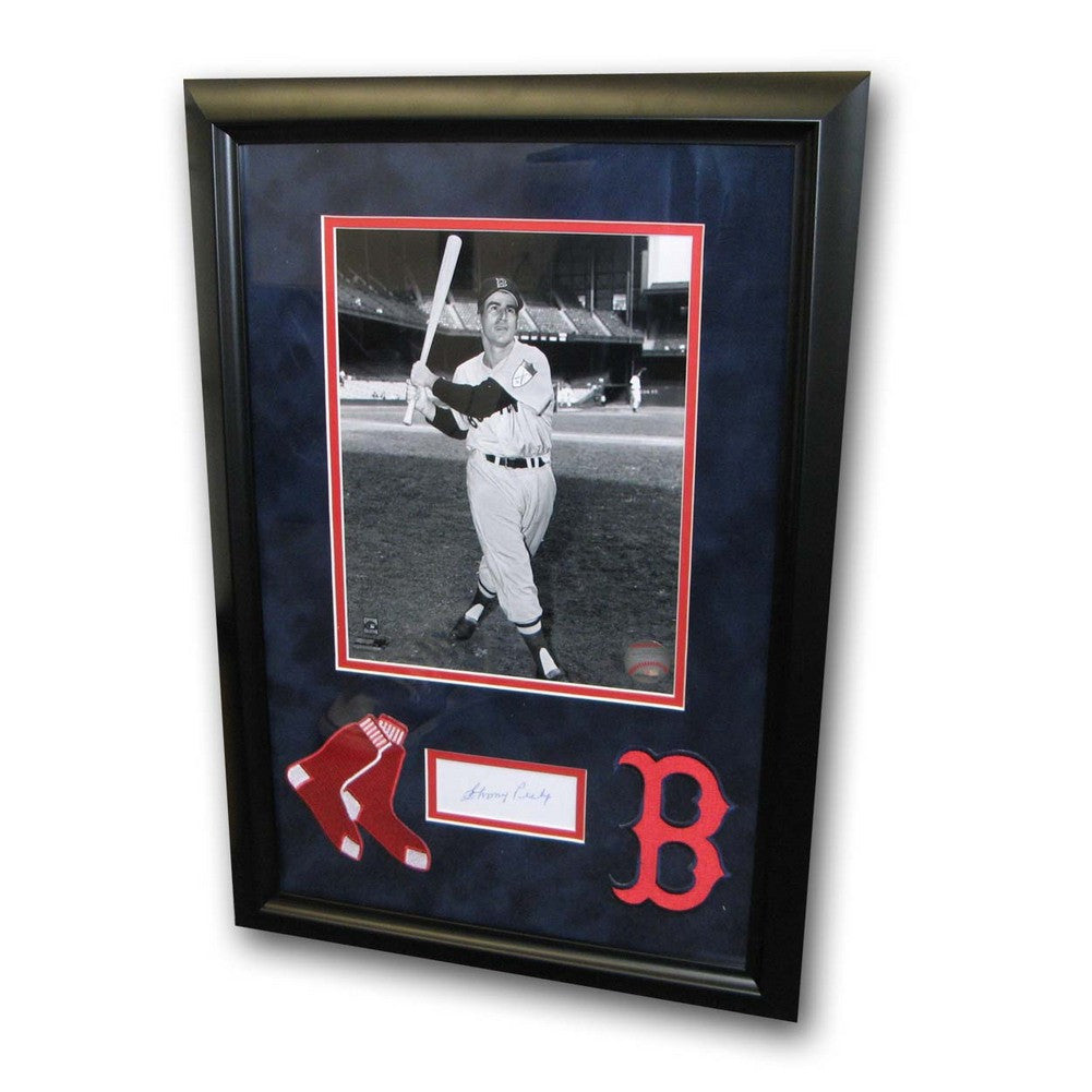 Autographed Johnny Pesky Index Card Framed With Black And White 8X10 Photo And 2 Red Sox Patches SPI-AUPESKYINDEX8FB