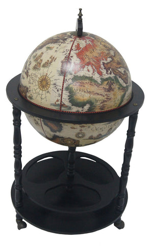 "Merske MK45001W-B 16th Century Italian Style 20"" Diameter Floor Globe Bar - White - Peazz.com"
