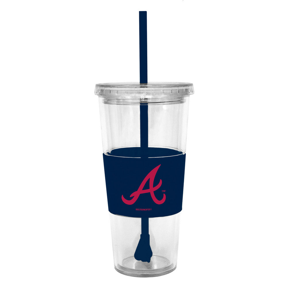 Lidded Cold Cup With Straw - Atlanta Braves