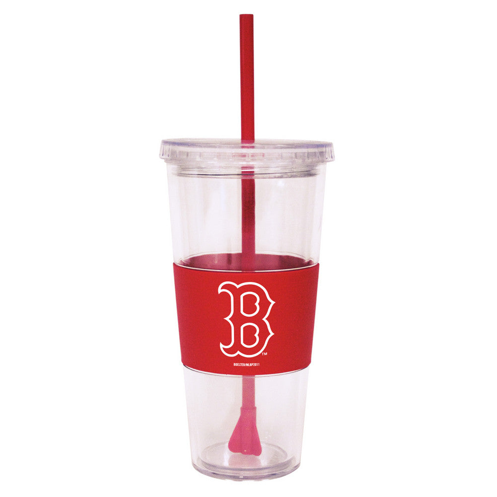 Lidded Cold Cup With Straw - Boston Red Sox
