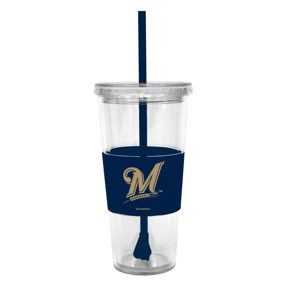 Lidded Cold Cup With Straw - Milwaukee Brewers
