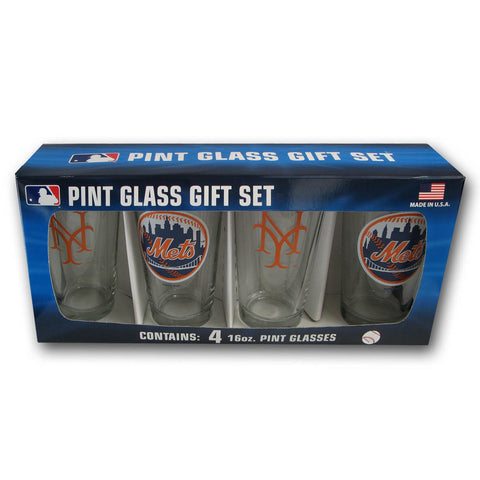4 Pack Pint Glass MLB - New York Mets - Peazz.com