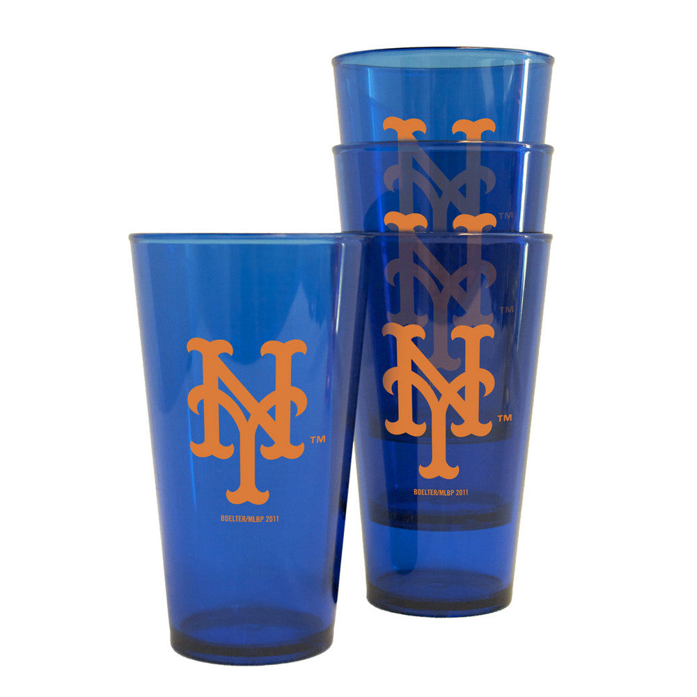 Boelter Plastic Pint Cups 4-Pack - New York Mets