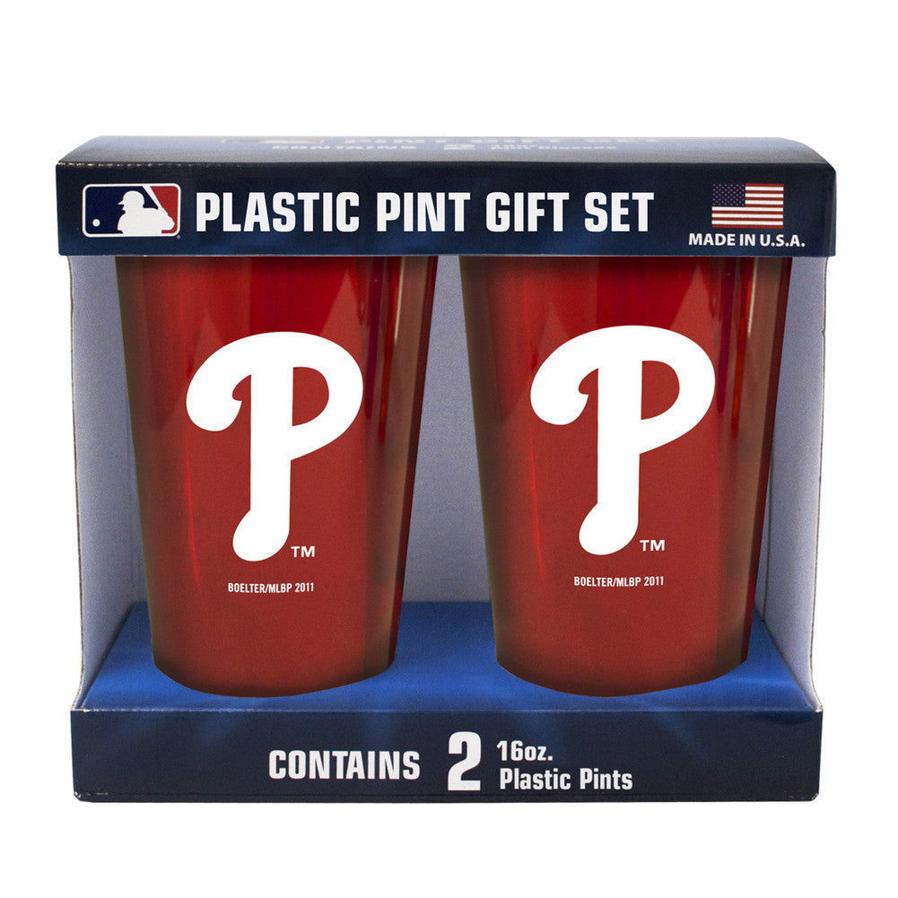 Boelter Brand Plastic 16 Ounce Pint Cups (Pack of 2) - Philadelphia Phillies