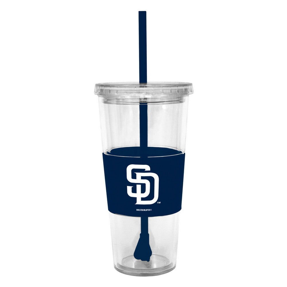 Lidded Cold Cup With Straw - San Diego Padres