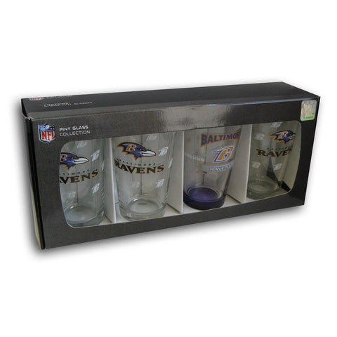 4 Pack Pint Glass NFL - Baltimore Ravens - Peazz.com