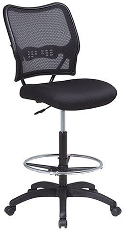Office Star Space Seating 13-37N20D Deluxe AirGrid® Back Drafting Chair with Black Mesh Seat and Adjustable Footring and Nylon Base - Peazz.com