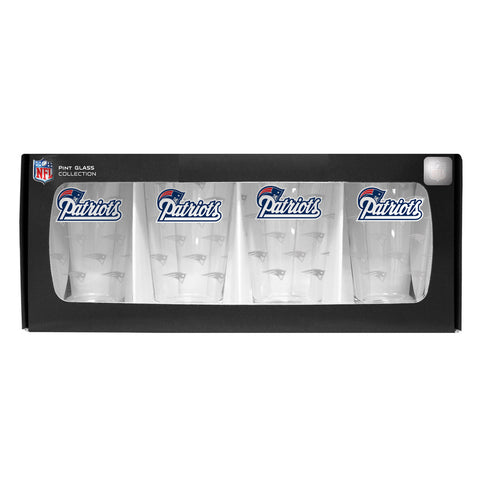 4 Pack Pint Glass NFL - New England Patriots - Peazz.com