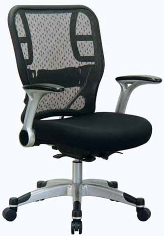 Office Star Space Seating 215-3R2C62R5 Deluxe R2 SpaceGrid® Back Chair With Mesh Seat, Self Adjusting Control, Flip Arms And Platinum Coated Accents And Base - Peazz.com