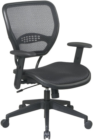Office Star Space Seating 5560 Black AirGrid® Seat and Back Deluxe Task Chair - Peazz.com