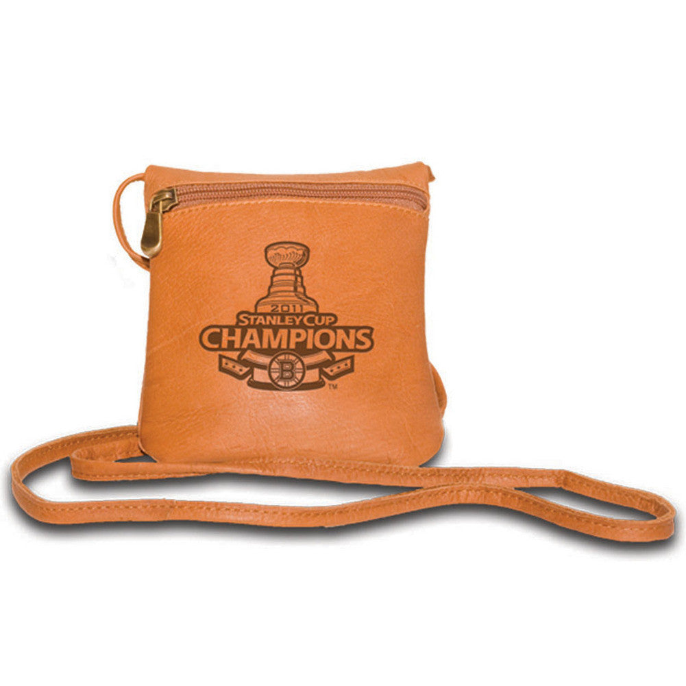 Pangea Tan Leather Women's Mini Handbag - 2011 Stanley Cup Champions Boston Bruins