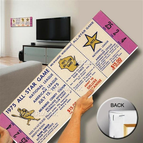 1975 All-Star Game Canvas Mega Ticket - Milwaukee Brewers (Host) - Peazz.com