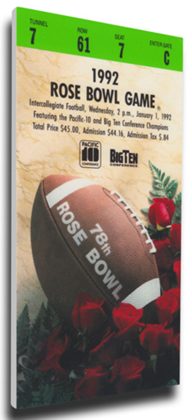 1992 Rose Bowl Mega Ticket - Washington Huskies