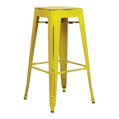 "OSP Designs BRW3030A2-AY Bristow 30"" Antique Metal Barstool, Antique Yellow with Blue Specks Finish, 2 Pack - Peazz.com"