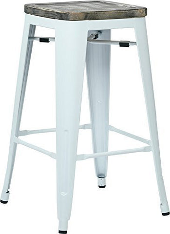 "OSP Designs BRW312611A4-C306 Bristow 26"" Antique Metal Barstool with Vintage Wood Seat, White Finish Frame & Ash Crazy Horse Finish Seat, 4 Pack - Peazz.com"