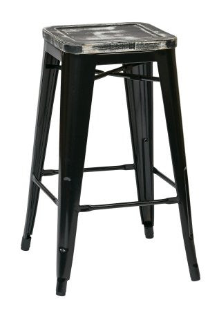 "OSP Designs BRW31263A4-C306 Bristow 26"" Antique Metal Barstool with Vintage Wood Seat, Black Finish Frame & Ash Yellow Stone Finish Seat, 4 Pack - Peazz.com"