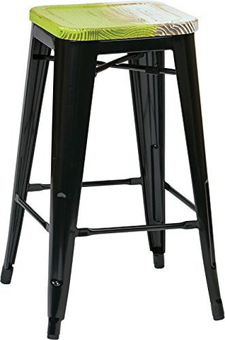 "OSP Designs BRW31263A4-C307 Bristow 26"" Antique Metal Barstool with Vintage Wood Seat, Black Finish Frame & Pine Alice Finish Seat, 4 Pack - Peazz.com"