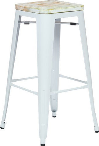 "OSP Designs BRW313011A4-C305 Bristow 30"" Antique Metal Barstool with Vintage Wood Seat, White Finish Frame & Pine Irish Finish Seat, 4 Pack - Peazz.com"