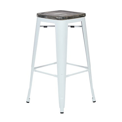 "OSP Designs BRW313011A4-C306 Bristow 30"" Antique Metal Barstool with Vintage Wood Seat, White Finish Frame & Ash Crazy Horse Finish Seat, 4 Pack - Peazz.com"