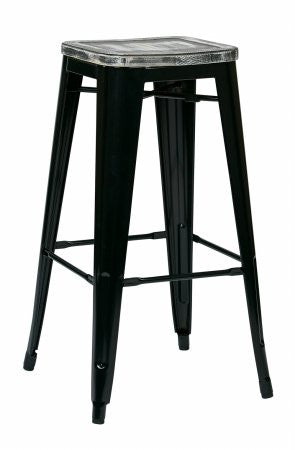 "OSP Designs BRW31303A2-C306 Bristow 30"" Antique Metal Barstool with Vintage Wood Seat, Black Finish Frame & Ash Crazy Horse Finish Seat, 2 Pack - Peazz.com"