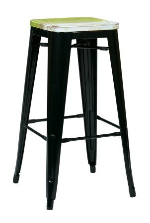 "OSP Designs BRW31303A2-C307 Bristow 30"" Antique Metal Barstool with Vintage Wood Seat, Black Finish Frame & Pine Alice Finish Seat, 2 Pack - Peazz.com"
