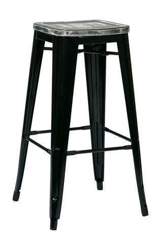 "OSP Designs BRW31303A4-C306 Bristow 30"" Antique Metal Barstool with Vintage Wood Seat, Black Finish Frame & Pine Alice Finish Seat, 4 Pack - Peazz.com"