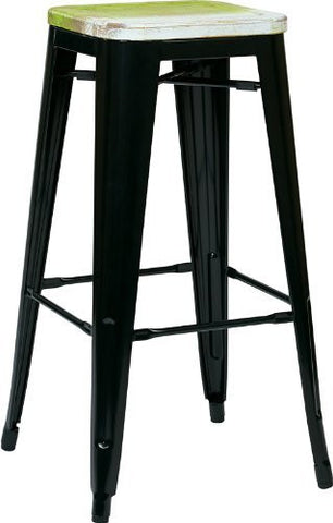 "OSP Designs BRW31303A4-C307 Bristow 30"" Antique Metal Barstool with Vintage Wood Seat, Black Finish Frame & Pine Alice Finish Seat, 4 Pack - Peazz.com"