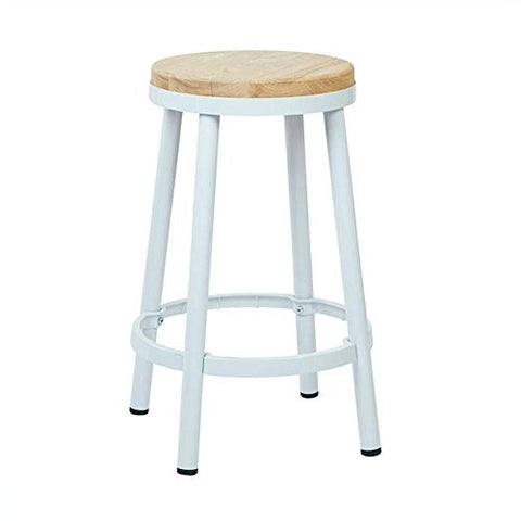 "OSP Designs BRW3226-11 Bristow 26"" Metal Backless Barstool, White Finish Frame - Peazz.com"