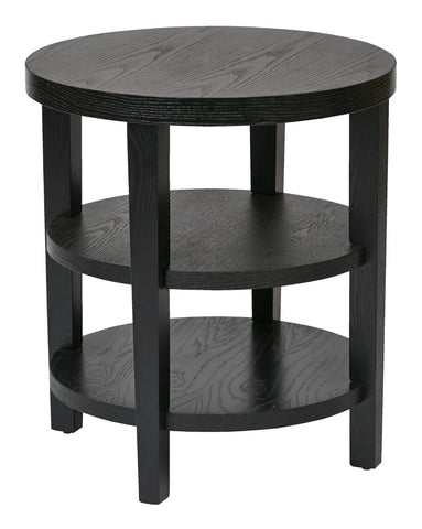 "Ave Six MRG09-BK Merge 20"" Round End Table Black Finish - Peazz.com"