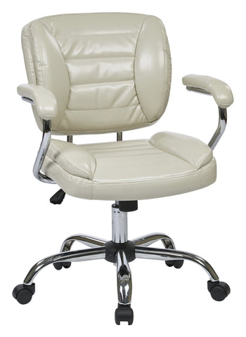 Work Smart ST52052CA-U28 Task Chair Faux Leather (Cream) - Peazz.com
