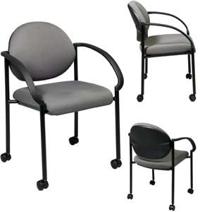 Work Smart STC3440-225 Stack Chairs with Casters and Arms - Peazz.com