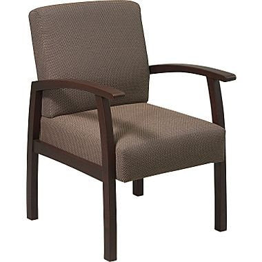 Work Smart WD1358-316 Deluxe Espresso Finish Guest Chair Taupe Fabric - Peazz.com