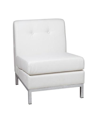 Office Star Ave Six WST51N-W32 Wall Street Armless Chair in White Faux Leather - Peazz.com