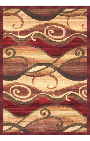 Abacasa 2013-8x10 Essentials Waves Rust/Sage/Red/Tan Area Rug - Peazz.com