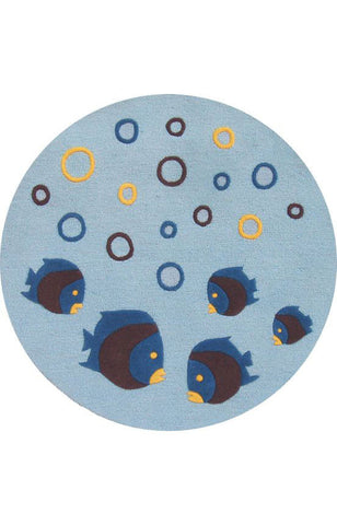 Abacasa 1010 Kids Aqaurium Lt. Blue/Chocolate/Yellow Area Rug - Peazz.com