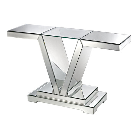 Lazy Susan 114174 Mirrored Console Table With Clear Glass Top - Peazz.com