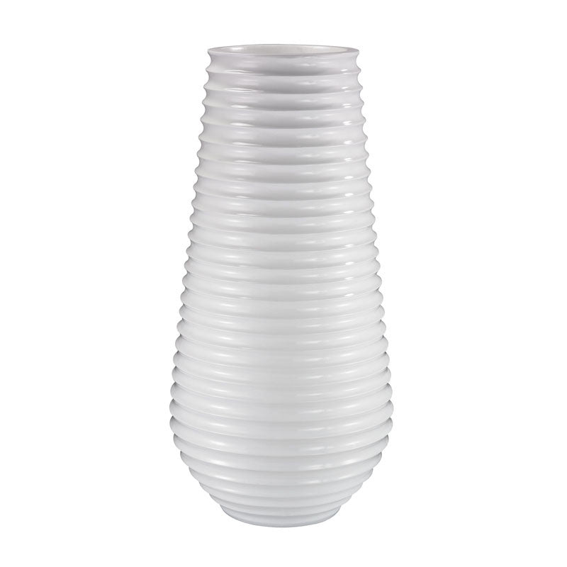 Lazy Susan 166-007 White Ribbed Planter LAZ-166-007