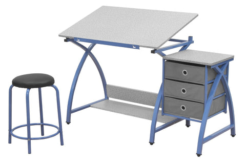 Studio Designs 13321 Comet Center with Stool / Blue / Spatter Gray - Peazz.com