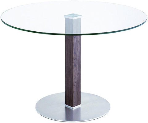 Armen Living LCCADIB201TO CafŽ Brushed Stainless Steel Dining Table with Clear Glass - Peazz.com