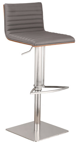 Armen Living LCCASWBAGRB201 CafŽ Adjustable Brushed Stainless Steel Barstool in Gray Pu with Walnut Back - BarstoolDirect.com