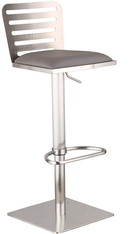 Armen Living LCDESWBAGRB201 Delmar Adjustable Brushed Stainless Steel Barstool in Gray Pu - BarstoolDirect.com