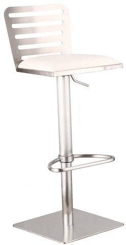 Armen Living LCDESWBAWHB201 Delmar Adjustable Brushed Stainless Steel Barstool in White Pu - BarstoolDirect.com
