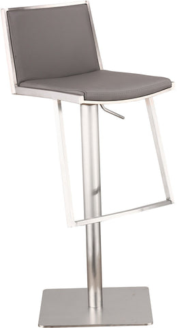Armen Living LCIBSWBAGRB201 Ibiza Adjustable Brushed Stainless Steel Barstool in Gray Pu - BarstoolDirect.com