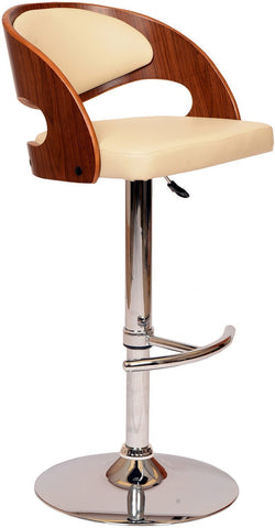 Armen Living LCMASWBACRWA Malibu Swivel Barstool In Cream PU/ Walnut Veneer and Chrome Base - BarstoolDirect.com