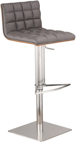 Armen Living LCOSSWBAGRB201 Oslo Adjustable Brushed Stainless Steel Barstool in Gray Pu with Walnut Back - BarstoolDirect.com