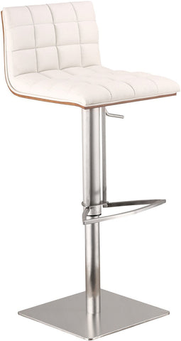 Armen Living LCOSSWBAWHB201 Oslo Adjustable Brushed Stainless Steel Barstool in White Pu with Walnut Back - BarstoolDirect.com
