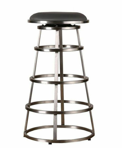 "Armen Living LCRISW30BAGRB201 Ringo 30"" Backless Brushed Stainless Steel Barstool in Gray Pu - BarstoolDirect.com"