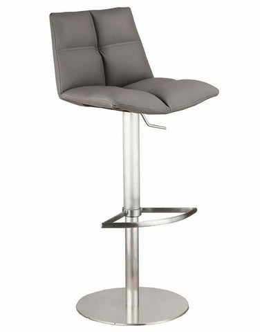 Armen Living LCROSWBAGRB201 Roma Adjustable Brushed Stainless Steel Barstool in Gray Pu - BarstoolDirect.com